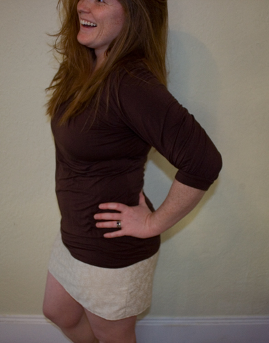 woman wearing a mini skirt made from a pillowcase