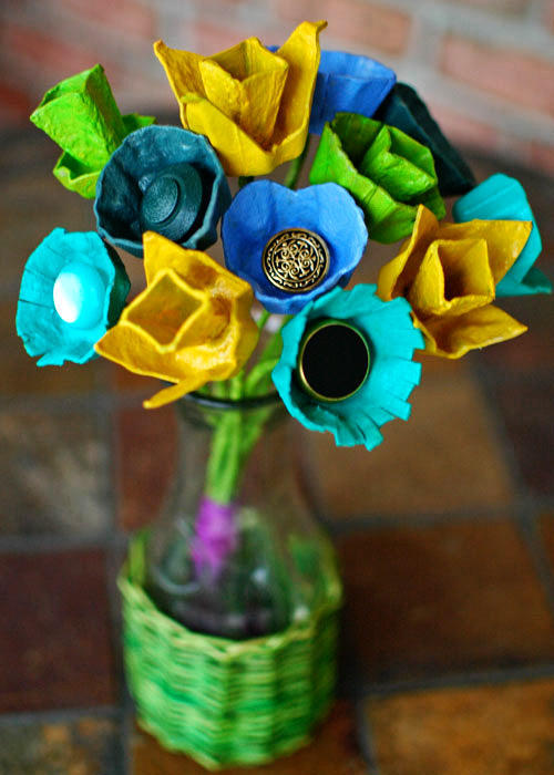 flowers created from egg cartons