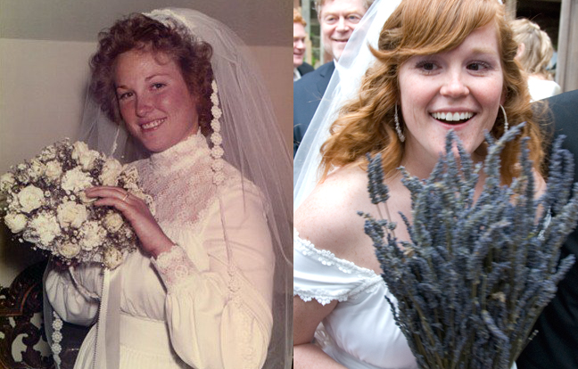 two photos side by side.  One taken of a bride in 1975 holding her bouquet.  Another taken in 2009; the daughter of the woman to the left wearing the same wedding dress.