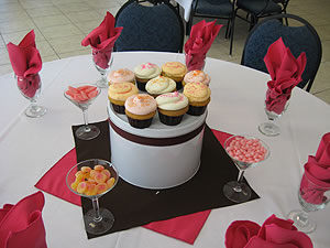 cupcakes on top of a box act as a centerpiece