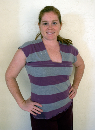 a purple and grey slouch tank top modeled by a woman
