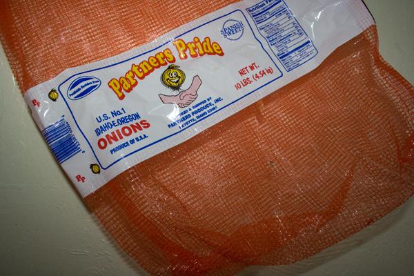 an orange large onion sack