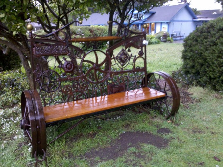 upcycled bench in a garden