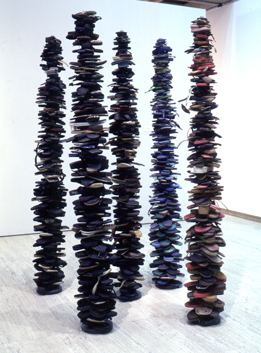 totem poles made from old flip flops
