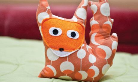 Fabric scrap fox cushion
