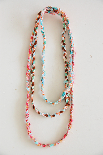 necklace made from fabric scraps