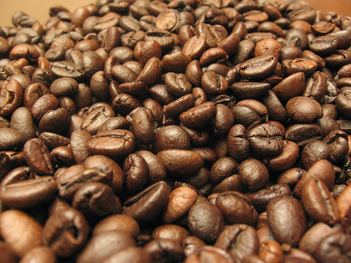 close up of a pile of coffee beans