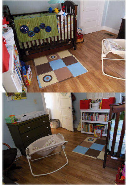 two angles of the same baby's room