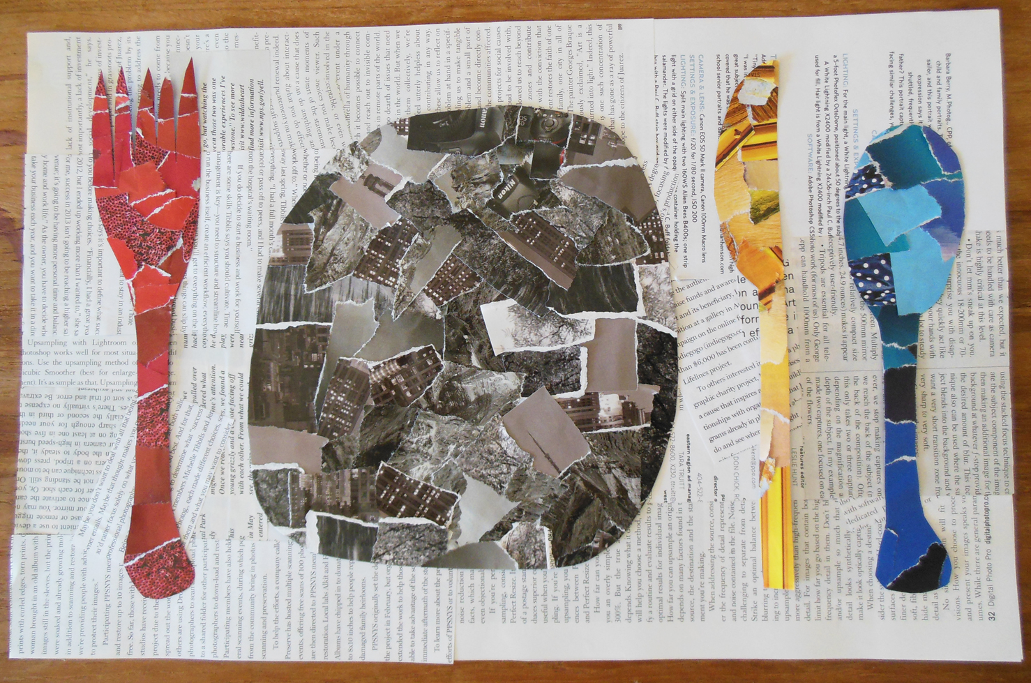 completed placemat made from torn pieces of magazine pages