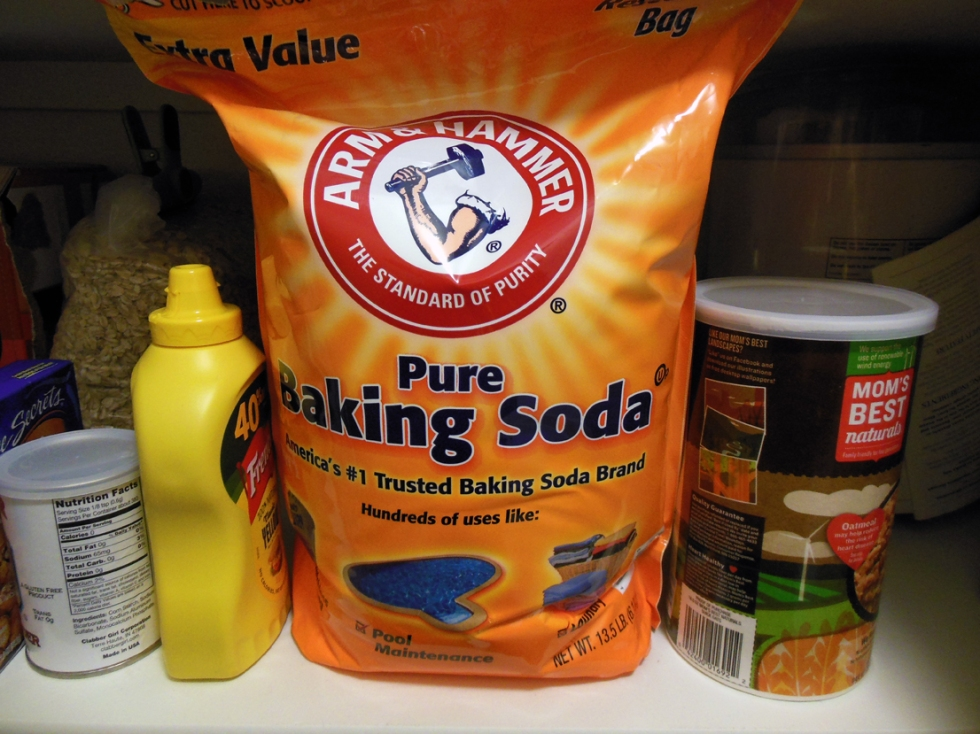 bag of baking soda sitting on a pantry shelf