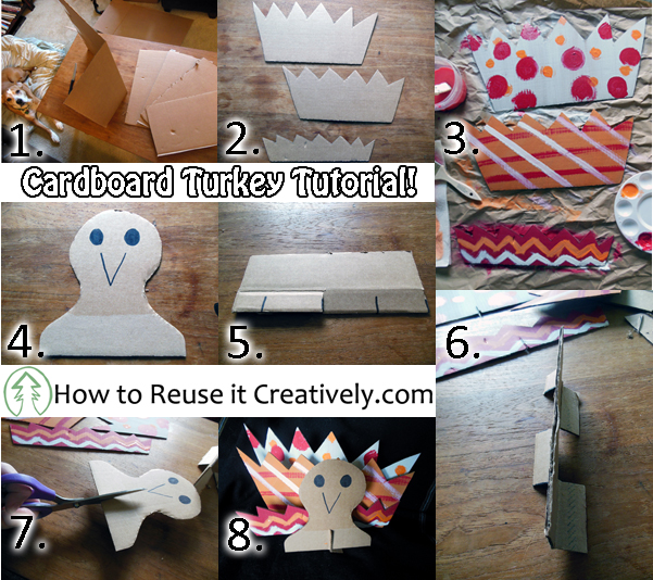 step by step image on how to make a cardboard turkey decoration