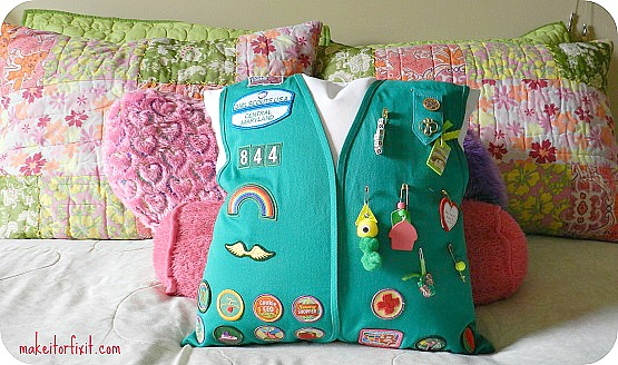 REuse a girl scout vest to make a pillow. So cute!